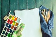 краски установили акварель Стоковые Изображения