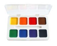 Краск-box вод-цвета крупного плана. стоковое изображение