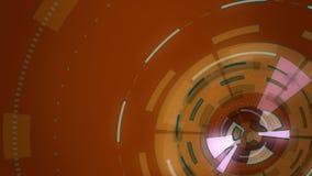 Красная абстрактная круглая анимация, предпосылка высок-техника с кругами Футуристическое влияние научной фантастики HUD иллюстрация вектора