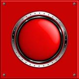 Красная абстрактная металлическая предпосылка с круглое лоснистым Стоковое Изображение RF