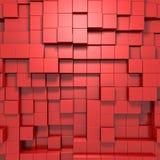 красная абстрактная предпосылка 3d кубов Стоковое Фото