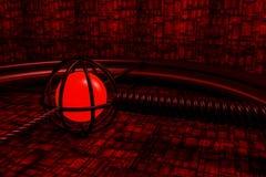 Красная абстрактная предпосылка с накаляя стеной сферы и космического корабля Стоковая Фотография