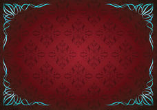 Красная абстрактная флористическая предпосылка с угловое флористическим Стоковые Изображения RF
