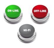 Красная автономная, зеленая онлайн и серая кнопка wifi Стоковое Фото