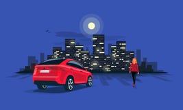 Красная автостоянка автомобиля Suv на ноче с женщиной на горизонте города ночи Стоковое Фото