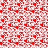 Красная безшовная картина сердца изолированная на белизне Акварель вектора Стоковые Изображения