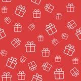 Красная безшовная картина с подарочными коробками бесплатная иллюстрация