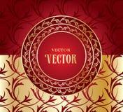 Красная безшовная предпосылка с орнаментом золота иллюстрация вектора