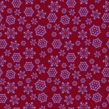 Красная безшовная предпосылка с снежинками Стоковая Фотография