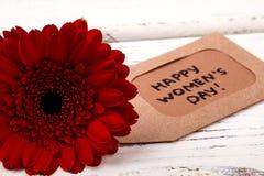 Красная бирка цветка и приветствия Стоковая Фотография RF