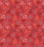 Красная богато украшенная бесконечная картина. Безшовная декоративная текстура с цветками Стоковые Фото