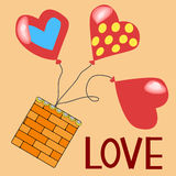 Красная бумажная карточка дня Валентайн сердец Стоковые Изображения