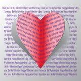 Красная бумажная карточка дня Валентайн сердец Стоковые Изображения RF