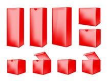 красная бумажная коробка на белой предпосылке иллюстрация вектора