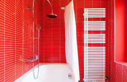 Красная ванная комната стоковое фото rf