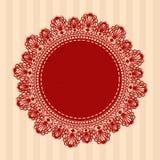 Красная винтажная круглая кружевная салфетка также вектор иллюстрации притяжки corel Стоковые Изображения RF