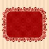 Красная винтажная рамка шнурка Ullustration вектора Стоковое Изображение
