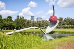 Красная вишня на ложке в саде скульптуры Миннеаполис стоковое фото