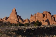 Красная гора утеса в национальном парке сводов Стоковые Изображения