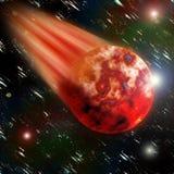 Красная горящая планета летая Стоковое фото RF