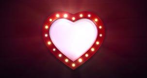 Красная граница формы сердца с моргать электрическими лампочками на темной предпосылке акции видеоматериалы