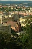 Красная евангелическая церковь Джна Amos Comenius в Брне стоковая фотография rf