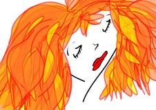 Красная девушка Стоковые Фотографии RF