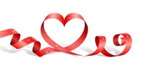 Красная лента с сердцем Стоковое Изображение RF