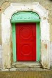 Красная деревянная дверь Стоковые Фото