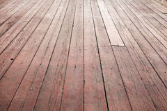 Красная деревянная перспектива пола. Текстура предпосылки Стоковое Изображение