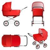 Красная детская сидячая коляска, иллюстрация вектора на белой предпосылке Стоковое Изображение RF