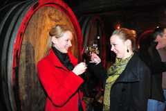 красная женщина вина дегустации Стоковая Фотография