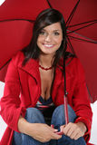 красная женщина зонтика Стоковое Фото