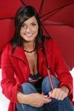 красная женщина зонтика Стоковая Фотография RF