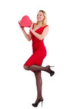 Красная женщина платья держа подарочную коробку изолированный на белизне Стоковая Фотография