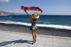 красная женщина шарфа стоковое фото rf