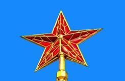 Красная звезда башни Москвы Кремля против голубого неба Стоковое Изображение RF