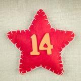 Красная звезда с деревянный 14 Стоковое Изображение RF