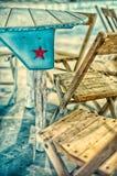 Красная звезда Техаса на голубой предпосылке Стоковые Фото