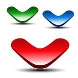 Красная, зеленая и голубая стрелка на белой предпосылке Простые кнопки стрелки Связь или указатель сети Символ затем, прочитал бо Стоковое Изображение