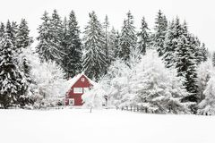 Красная зима дома Стоковые Фото