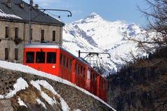 красная зима поезда Стоковые Фотографии RF