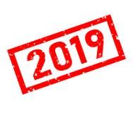 красная избитая фраза 2019 на белой предпосылке знак 2019 печатей 2019 иллюстрация вектора