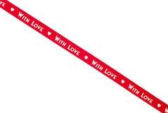 Красная изолированная лента с влюбленностью Стоковые Изображения