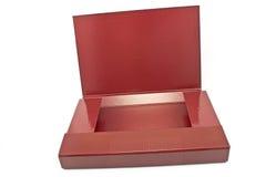 Красная изолированная папка портфолио стоковое фото rf