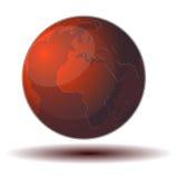 Красная икона мира принципиальной схемы Стоковое Изображение RF