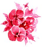 Красная иллюстрация акварели цветков E бесплатная иллюстрация
