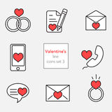 Красная линия серого цвета иллюстраций set3 значков валентинки Стоковое фото RF