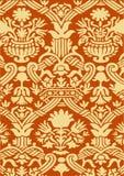 Красная и бежевая абстрактная предпосылка года сбора винограда цветочного узора Стоковое Изображение RF