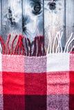 Красная и белая шотландка с краем Стоковая Фотография RF
